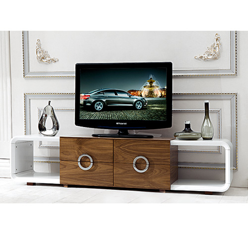 Bn high gloss white and walnut coffee table and tv stand for Living room table sets with tv stand